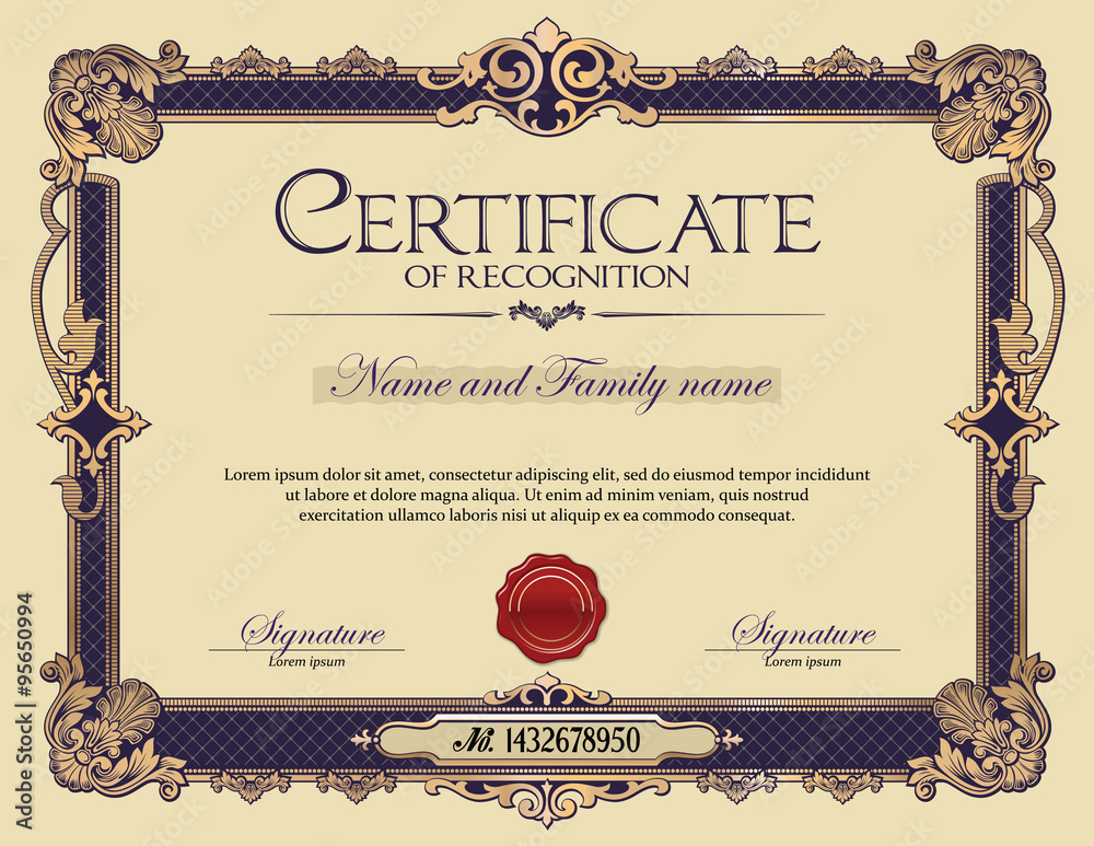 Fototapety, obrazy: Antique Vintage Ornament Frame Certificate of Recognition