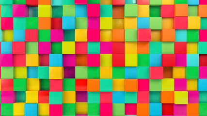 Colorful Cubes Wall