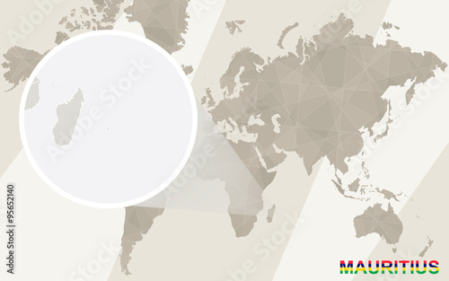 Zoom on Mauritius Map and Flag. World Map. – kaufen Sie diese ...