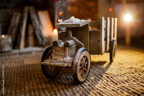Keuken foto achterwand Fiets Great wooden car at New Year 2016 celebration