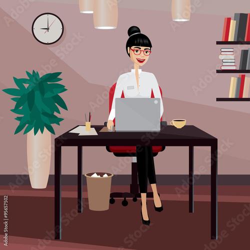 Fotografie, Obraz  Business woman working at workplace