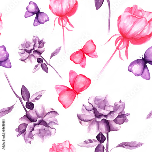 Seamless Pattern With Pink And Purple Roses And Butterflies Buy