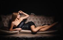 Beautiful Girl In A Sexy Black Dress