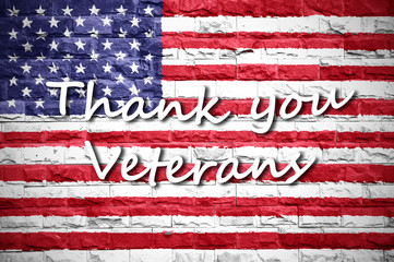 flag of thank you veterans card american background