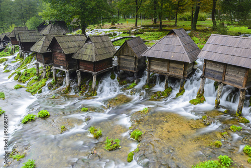 Aluminium Prints Mills Old wooden water mills, Jajce in Bosnia and Herzegovina