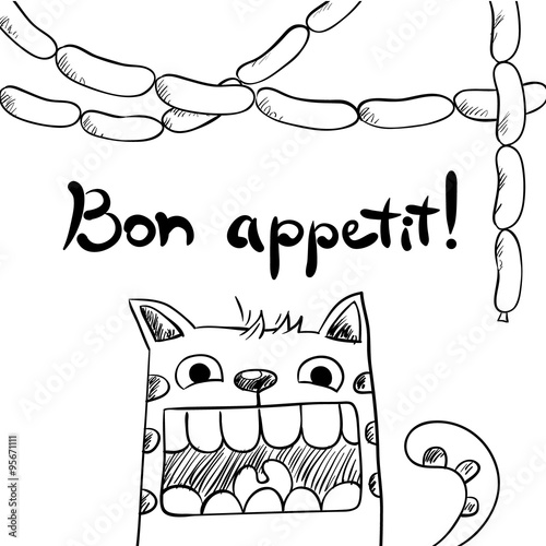 Fototapeta Sketchy cat with sausages, bon appetit.