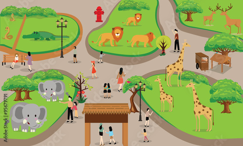 Fotografie, Obraz  zoo cartoon people family with animals scene vector illustration background from