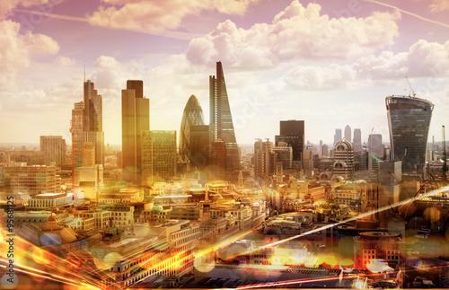 Fototapeta City of London view with traffic lights reflections, London obraz na płótnie