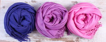 Colorful Scarves On Old Rustic...