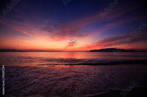 Printed kitchen splashbacks Eggplant view of fantastic dark blue red sky fleecy clouds before sunrise