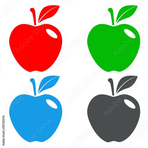 Icono plano manzana en varios colores #4 - Buy this stock vector and ...