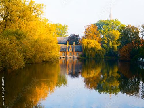 Poster Brugge Autumn morning in Bruges at Lake of Love