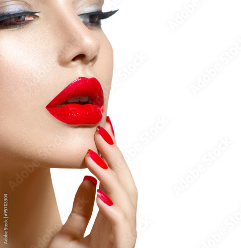 Beauty model girl with red sexy lips and nails closeup Poster