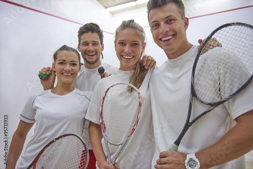 Very successful team at a squash court. Fototapet