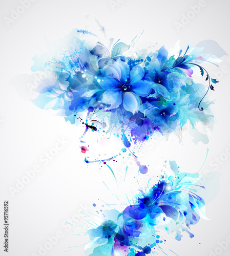 Photo Stands Floral woman Beautiful abstract women