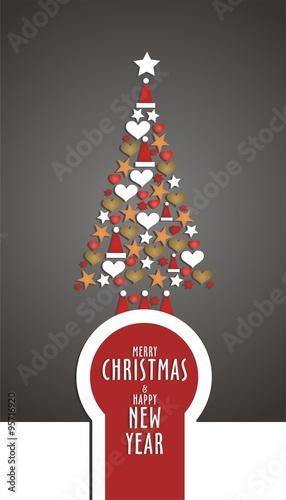 Fotografia, Obraz  Felicitación Navideña con árbol de adornos de Navidad y fondo gris