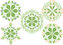 Vector Set Of Floral Patterns On A White Background.