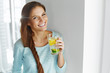 Leinwanddruck Bild - Healthy Lifestyle And Food. Woman Drinking Fruit Water. Detox.