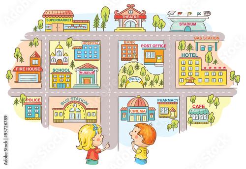 Plakat Dzieci pytające i opowiadające drogę do różnych budynków miejskich