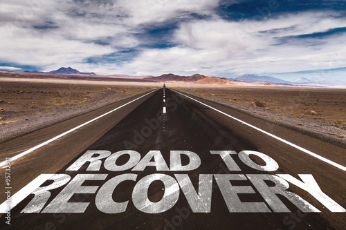 Fotografía  Road to Recovery written on desert road