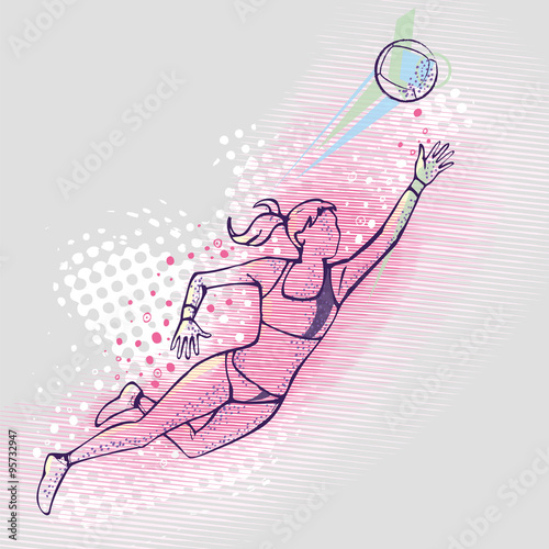 fototapeta na szkło Illustration of a volleyball player jumping