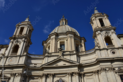 Foto op Canvas Monument Santa Agnese Church dome and belfry