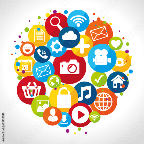 Social media design with multimedia icons #95739941