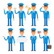 Pilot in different poses