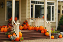 Pumpkins On Porch