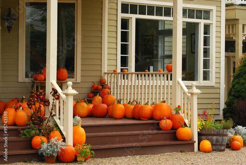 Fotografie, Obraz  Pumpkins on Porch