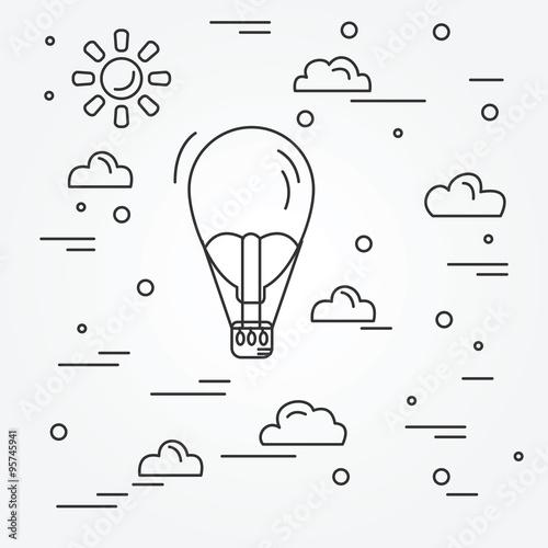 Air balloon. Vector. Wallpaper Mural