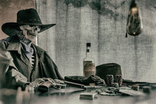 Old West Poker Playing Skeleto...