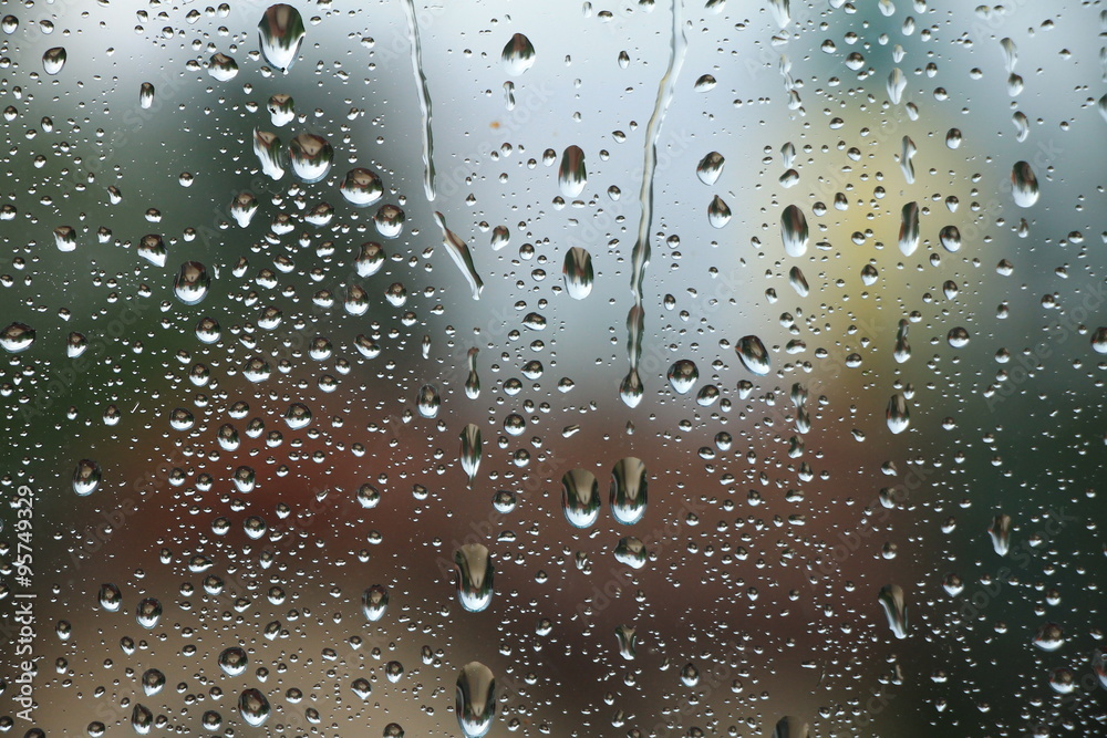 Fototapeta Rain drops on window , rainy day