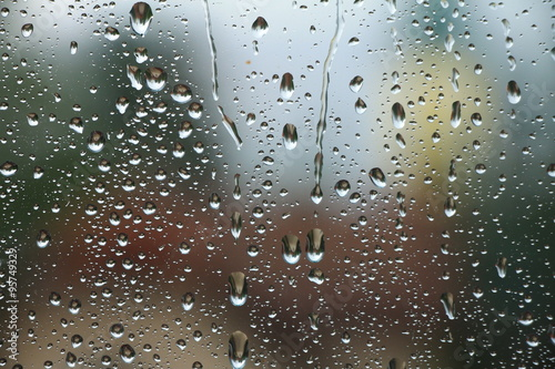 Fotografie, Obraz  Rain drops on window , rainy day