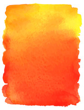 Colorful Watercolor Background. Yellow And Red Abstract Stain. Vector Illustration.