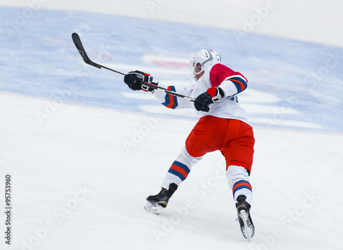 fototapeta na drzwi i meble Ice Hockey - Player makes a slap shot