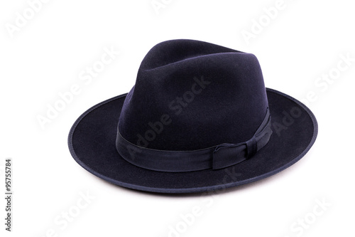 f19c989a3fb A classic low crown fedora hat in a dark blue color. Isolated on white  background
