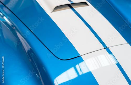 фотография  Blue and White Striped Hood of Classic Car