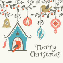 Christmas Greeting Card With Birds And Christmas Ornaments. Vector Is Cropped With Clipping Mask.
