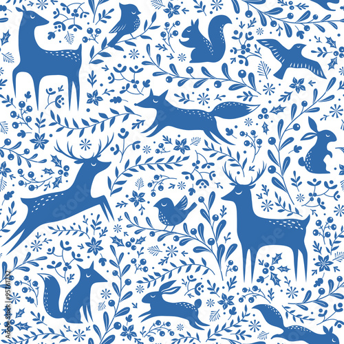 Cotton fabric Blue Christmas forest pattern