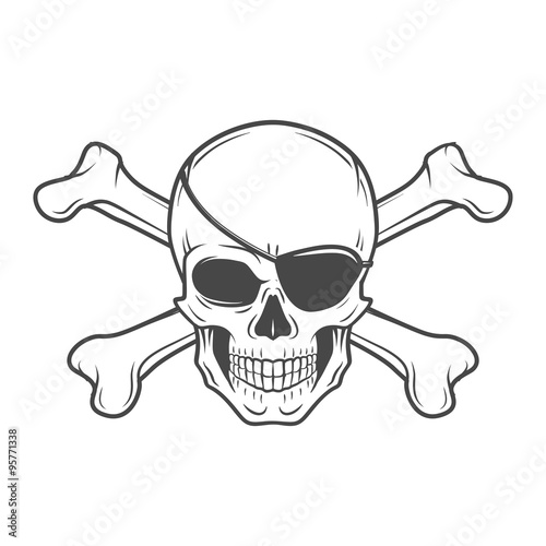 Jolly Roger with eyepatch and crossbones logo template Wallpaper Mural