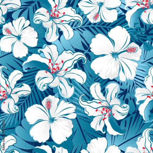 Türaufkleber Künstlich White tropical hibiscus flowers.