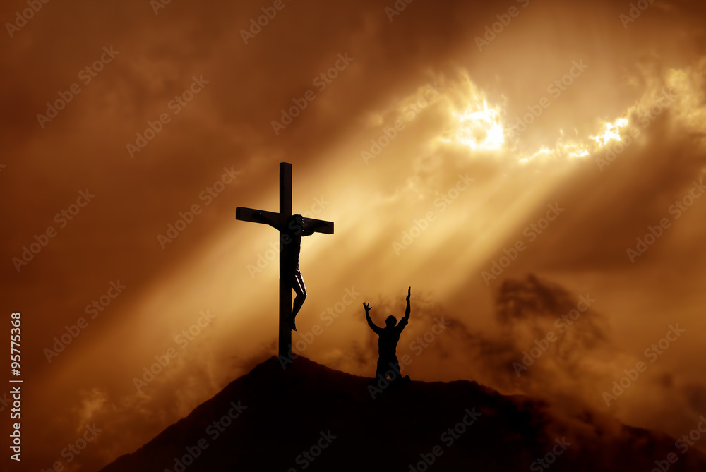 Fototapety, obrazy: Dramatic sky scenery with a mountain cross and a worshiper