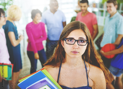 Valokuva  Woman Stressed Sad Depressed Student School Concept