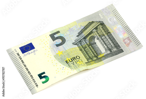 five euro banknote on white background Poster