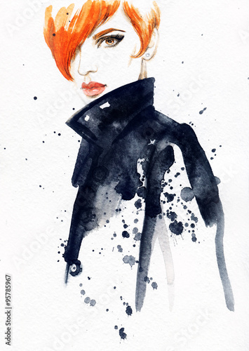 woman portrait, abstract watercolor .fashion background