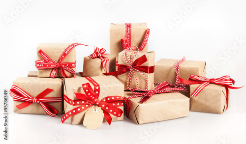 Fotografie, Obraz  Large stack of decorative Christmas gifts