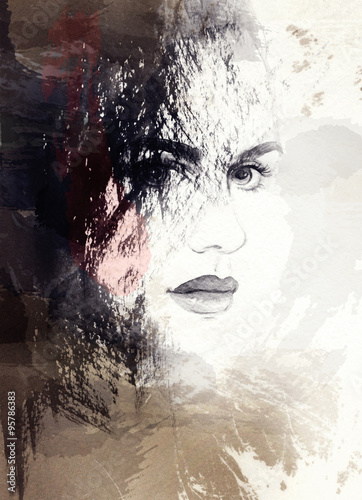 Fototapety, obrazy: woman face, abstract watercolor .fashion background