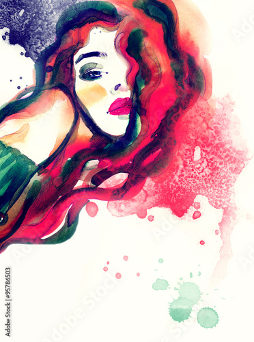 Canvas Prints Watercolor Face woman portrait, abstract watercolor .fashion background