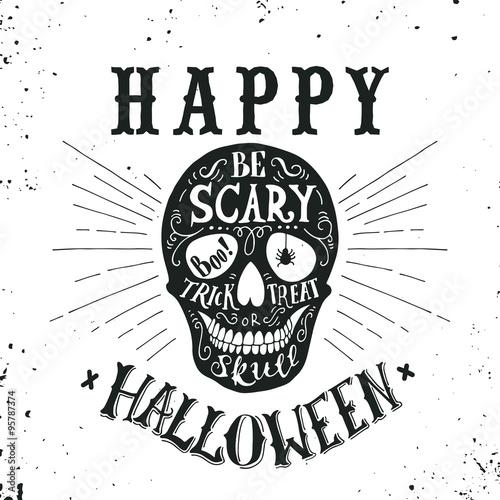 Ingelijste posters Halloween Hand drawn Happy Halloween lettering